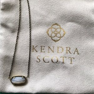 Kendra Scott White Banded Agate Elisa Necklace